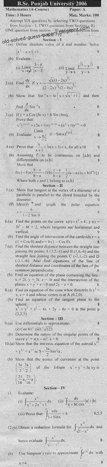 Mathematics Gp Essay by Pu B Sc Mathematics Course A B And General Paper A And B Solved And Guess Papers
