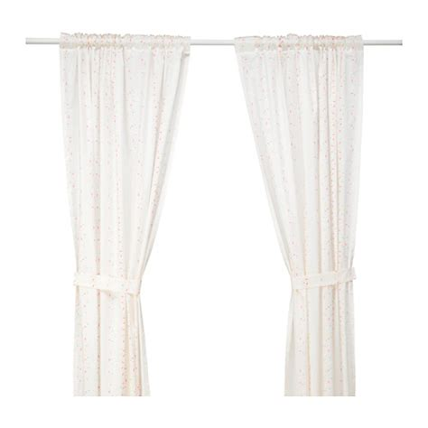 ikea pink curtains lattjo curtains with tie backs 1 pair dotted white pink