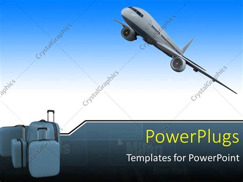template powerpoint airplane powerpoint template an airplane with 3 bags of luggage 1454