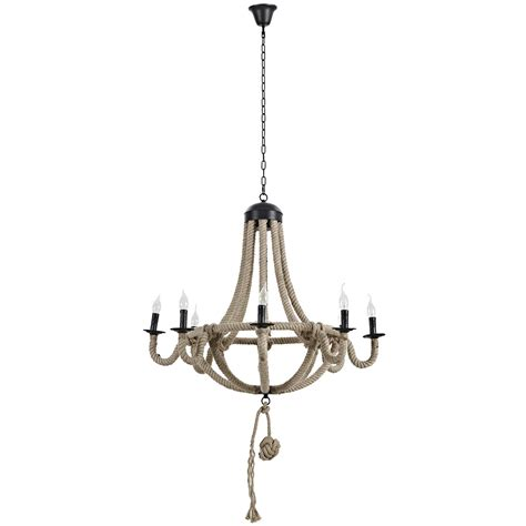 Coronet Rustic 8 Bulb Chandelier With Rope Cord Over Steel Chandelier With In Cord