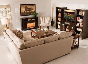 furniture arrangement   shaped couch  front  fireplace   home