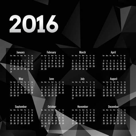 Calendario Negro Calendario Poligonal Negro De 2016 Descargar Vectores Gratis