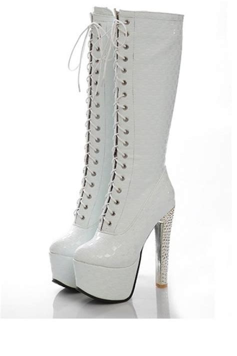 white lace up high heel boots white faux leather lace up high heel boots womens