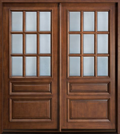 Exterior Entry Doors With Glass Custom Solid Wood Entry Door Design With Frosted Glass Panels For Rustic Modern House