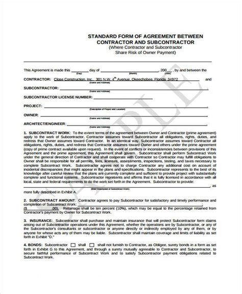 standard subcontract agreement template sub contract agreement ichwobbledich
