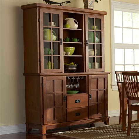 home styles arts and crafts china hutch and buffet baker