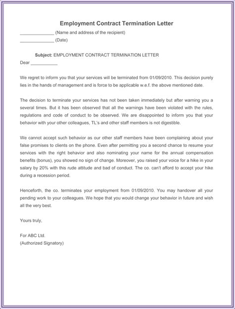 Sle Letter Of Termination Of Employment Contract By Employer sle termination letter contract employee 28 images