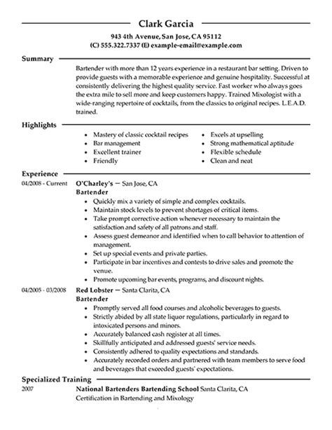 Exle Of Bartender Resume by Bartender Resume Skills Template Learnhowtoloseweight Net