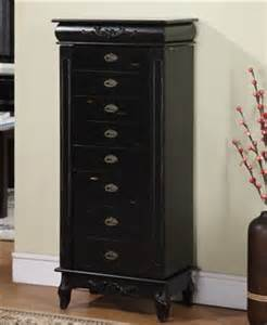 Large Standing Jewelry Armoire Large Black Antique Style Jewelry Armoire With Eight Drawers