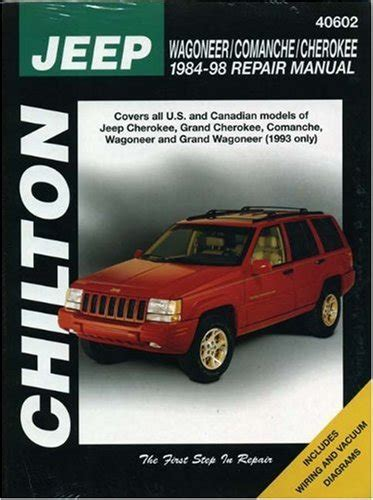 automotive service manuals 1998 jeep grand cherokee parking system jeep wagoneer comanche and cherokee 1984 98 repair manual at virtual parking store books