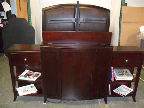 King Bed With Tv In Footboard by King Bed Padded Leather Headboard And Tv Lift Footboard Ebay