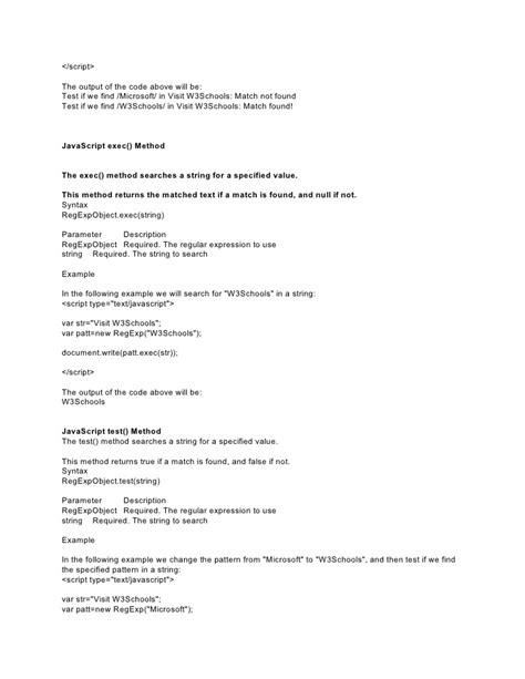pattern matching w3schools java scripts