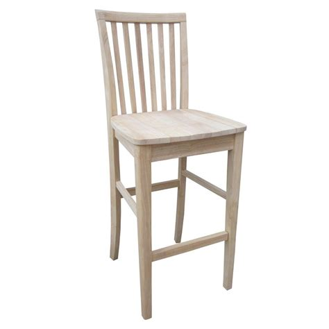 Unfinished Wood Bar Stool International Concepts 30 In Unfinished Wood Bar Stool 265 30 The Home Depot
