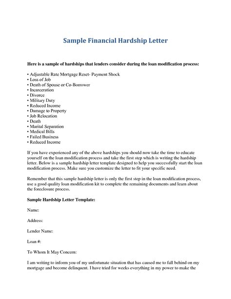Financial Hardship Letter Unemployment hardship letter template letter template 2017