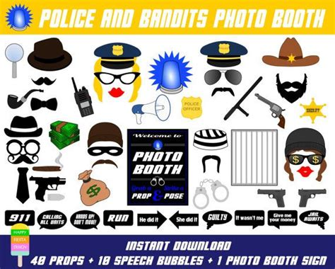 printable police photo booth props instant download diy printable police bandits photo