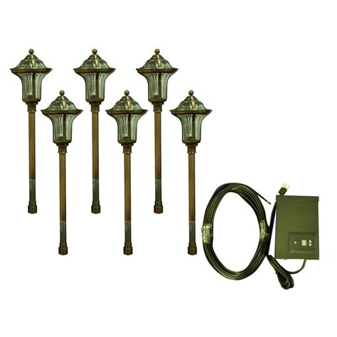 Portfolio Low Voltage Landscape Lighting Shop Portfolio 6 Light Copper Low Voltage Path Light Landscape Light Kit At Lowes