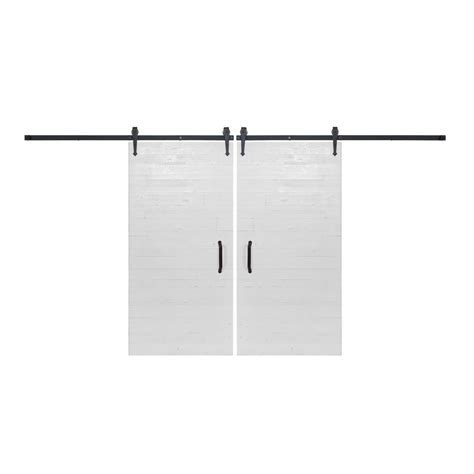 Bi Parting Barn Door Hardware Rustica Hardware Bi Parting 42 In X 84 In Rustica Reclaimed White Barn Doors With Flat Black