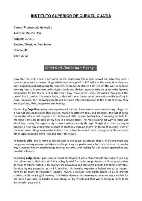 Self Reflection Report Writing by Call Self Reflection Essay
