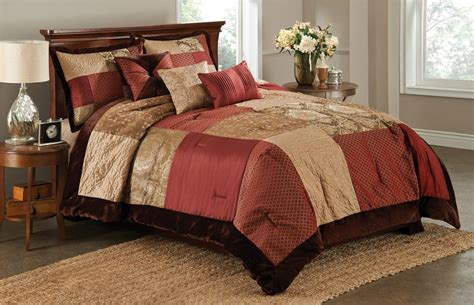brown and red comforter sets essential home 6 piece red brown san marco comforter set
