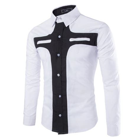 pattern black and white shirt men shirt long sleeve 2015 new fashion patchwork design