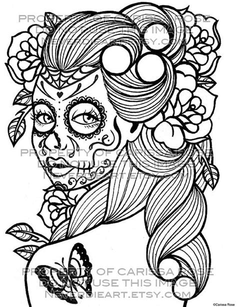 day of the dead art coloring pages day of the dead tattoo flash digital download print your