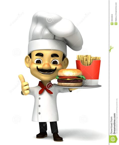 Eat In Kitchen Design 3d chef and fast food stock images image 33044844