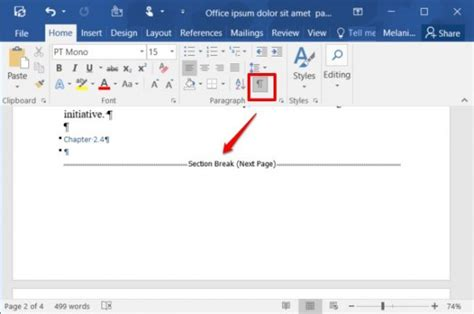 how to delete section break in word delete manual page break ms word 2010