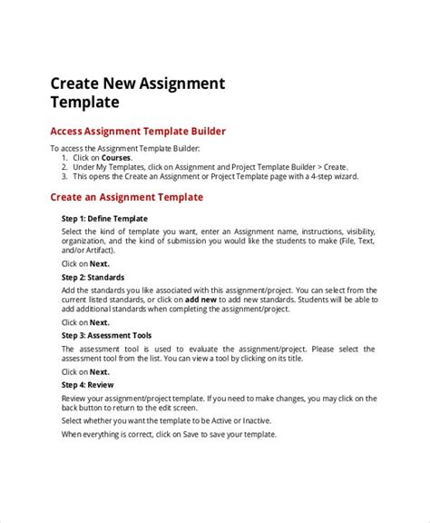 project assignment templates sample