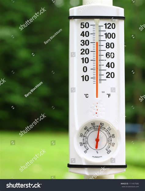 Room Temperature In Summer by New Outdoor Mercury Thermometer Humidity Stock Photo