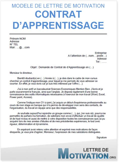 Lettre De Motivation De Apprentissage Exemple Cv Contrat D Apprentissage Cv Anonyme