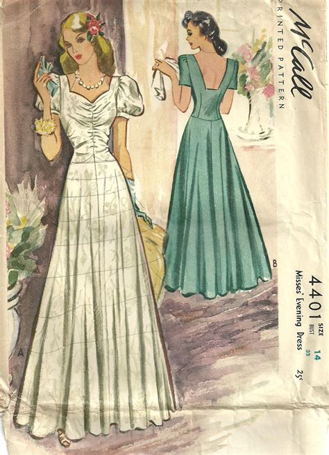 Vintage Gown Pattern | mccall 4401 vintage 40s sewing pattern evening dress gown size