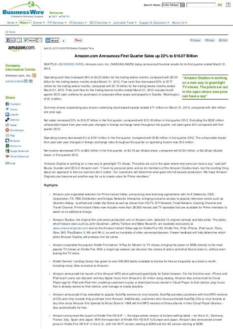 amazon quarterly report amazon com first quarter 2013 earnings call report