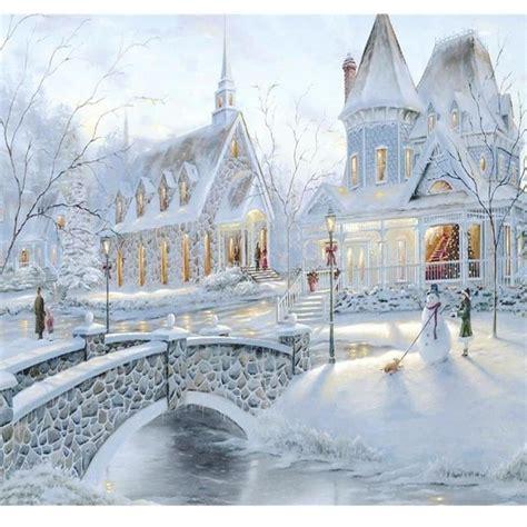 Peinture Blanc Neige by Diy 5d Peinture Diamant Ch 226 Teau Neige Blanc Broderie D 233 Cor