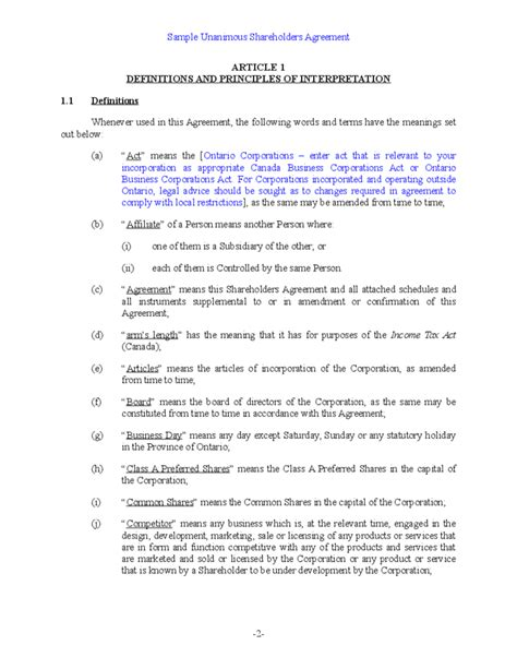 Sle Unanimous Shareholder Agreement Free Download Stockholder Agreement Template