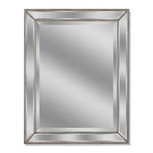 beveled glass bathroom mirrors shop allen roth silver beveled wall mirror at lowes