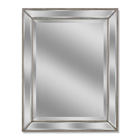 bathroom mirror glass shop allen roth silver beveled wall mirror at lowes com
