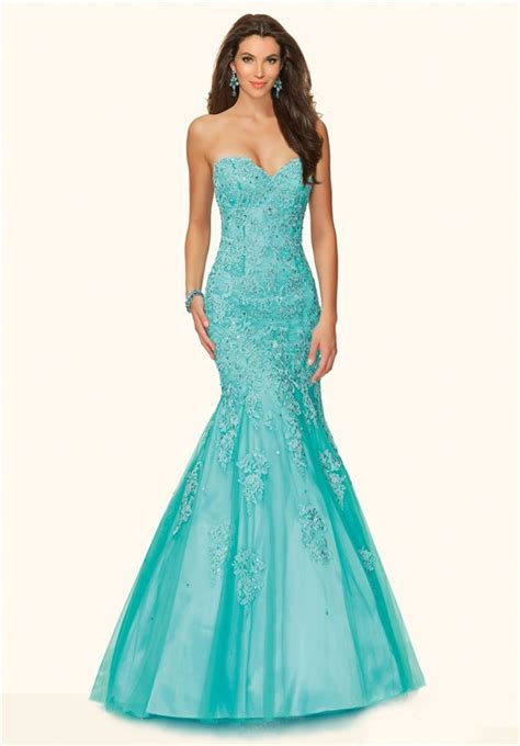 beaded mermaid prom dress mermaid strapless corset back aqua tulle lace beaded prom