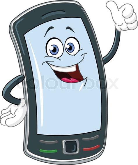 Cartoon Themes Cell Phone | smart phone cartoon with thumb up stock vector colourbox
