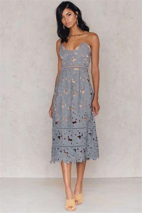 Midi Dress Blue Murah Murah floral crochet midi dress na kd