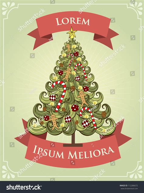 Vintage Christmas Tree Poster Template Vectorillustration Stock Vector 112286672 Shutterstock Tree Poster Template