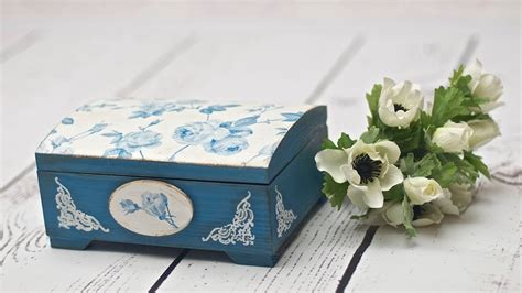 What Do I Need For Decoupage - decoupage box with blue roses tutorial diy by catherine