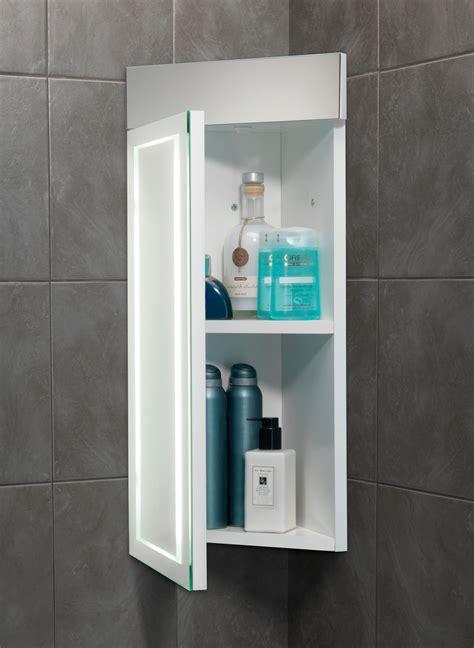 Bathroom Mirror Corner Cabinet Hib Minnesota Led Back Lit Illuminated Corner Cabinet 300 X 630mm 9102100