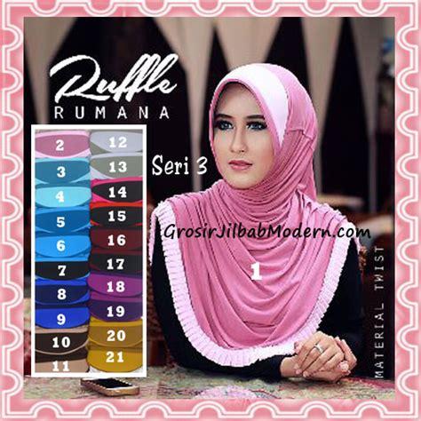 Jilbab Instan Kerudung Syiria Ruffle jilbab instant trendy bergo rumana ruffle seri 3 grosir