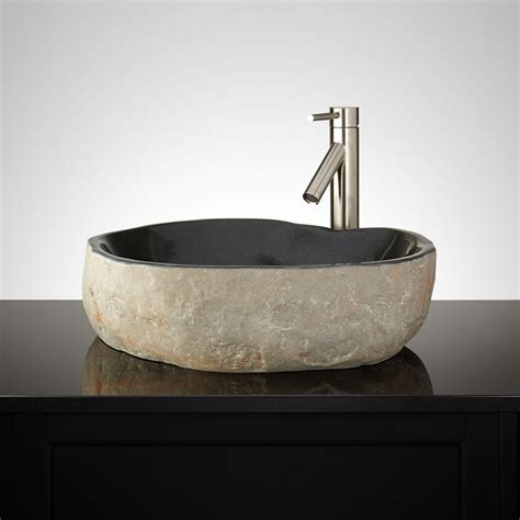 stone vessel sinks for bathrooms rushal black river stone vessel sink new bathroom sinks