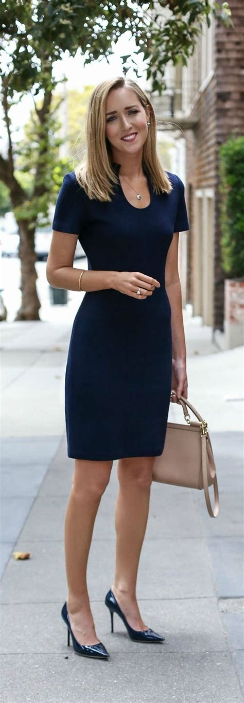 office fashion ladies pinterest navy knit sheath dress navy patent leather pointed toe