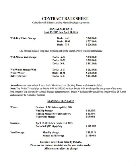 rate agreement template rate agreement template rate sheet template 9 free word