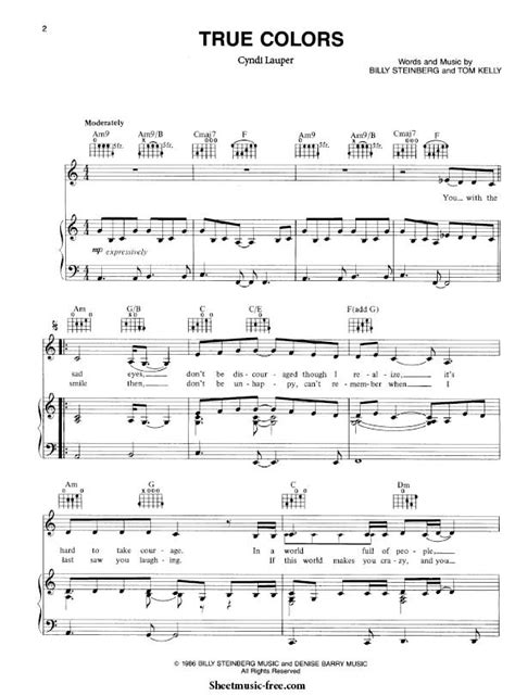 printable piano sheet music no download free true colors sheet music cyndi lauper sheet music free
