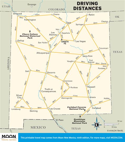 us map with driving distances the best scenic drives in new mexico moon travel guides