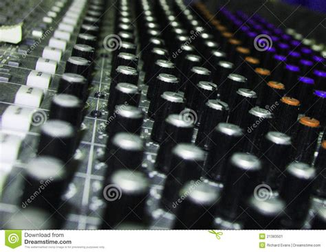 rows of knobs on soundboard stock image image 21383501