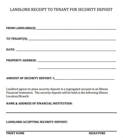 rental security deposit receipt template 16 sle deposit receipt templates to sle